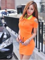 Pre order (สีส้ม) ชุดเดรสแซกสั้นแฟชั่นเกาหลี สีส้ม คอปกสีเขียวขอบชมพู เว้าไหล่ แขนกุดเข้ารูป ผ้าคอตตอน(ใหม่ พรีออเดอร์)ร้าน Ladyshop4U