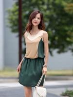 ชุดเดรสแซกสั้นแฟชั่นเกาหลี สีเขียว ช่วงคอกลมสีขาว แขนกุด เอวยืด (ใหม่ พร้อมส่ง) ร้าน Ladyshop4u