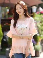 (สีชมพูโอรส)เสื้อทำงานแฟชั่นเกาหลีออฟฟิศ สีชมพูโอรส ปักเลื่อมรูปดอกไม้ด้านหน้า ปลายเสื้อแต่งระบายรอบ มีซับใน เหมาะสำหรับใส่เที่ยวสบายๆ ใส่ไปงานบุญ ใส่ไปวัด (ใหม่ พร้อมส่ง) ร้าน LadyShop4U