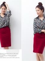 (สีฟ้า) เสื้อเชิ้ตผู้หญิงแฟชั่น เสื้อเชิ้ตผู้หญิงทํางาน เสื้อเชิ้ต แขนยาว พิมพ์ลาย สีฟ้า ดูดี (ใหม่ พร้อมส่ง)ร้าน LadyShop4U