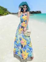(โทนสีฟ้าเหลือง) ไซส์ M ชุดเดรสแซกยาวแฟชั่นเกาหลีชุดไปเที่ยวทะเลสวยๆ เดรสยาวโทนสีฟ้าเหลือง แขนกุด ลายดอกไม้ เม็กซี่เดรส (Maxi Dress) ชุดเดรสเที่ยวทะเล สีขาว คอกลม แขนกุด (ใหม่ พร้อมส่ง) ร้าน Ladyshop4u