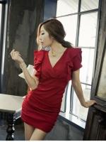 Pre order (สีแดง)ชุดเดรสแซกแฟชั่นทำงานเกาหลี สีแดง คอวี แขนสั้นมีระบาย เข้ารูป (ใหม่ พรีออเดอร์) ร้าน Ladyshop4u
