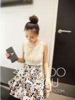 กระโปรงบาน แฟชั่นเกาหลี เอวยางยืด สีขาว กระโปรงแฟชั่น กระโปรงทำงาน (ใหม่ พร้อมส่ง) ladyshop4U