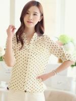 (สีเหลือง)เสื้อผ้าแฟชั่นเกาหลีทำงานออฟฟิศ เสื้อแขนสามส่วน สีเหลืองลายจุด คอจีน กระดุมผ่าหน้า ผ้าชีฟองบาง+มีเสื้อซับในสีขาว( ใหม่ พร้อมส่ง) ร้าน LadyShop4U