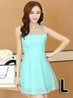 (สีฟ้า ไซส์ L) ชุดเดรสแซกสั้นแฟชั่นเกาหลี ชุดเดรสผ้าลูกไม้สีฟ้า ผ้าลูกไม้ด้านใน ด้านนอกผ้าใยแก้วบางๆ มีซับในทั้งตัว ซิปหลัง (ใหม่ พร้อมส่ง) ร้าน Ladyshop4u