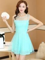 (สีเขียวมิ้น) ชุดเดรสแซกสั้นแฟชั่นเกาหลี ชุดเดรสผ้าลูกไม้สีฟ้า ผ้าลูกไม้ด้านใน ด้านนอกผ้าใยแก้วบางๆ มีซับในทั้งตัว ซิปหลัง (ใหม่ พร้อมส่ง) ร้าน Ladyshop4u