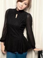 (สีดำ)เสื้อทำงานแฟชั่นเกาหลีออฟฟิศ สีดำ คอเต่า เว้าช่วงคอ แขนยาวผ้าชีฟองโปร่่ง ซิบหลังถึงเอว เอวด้านหลังยางยืด ช่วงล่างปล่อย เข้ารูป ( ใหม่ พร้อมส่ง) ร้าน LadyShop4U