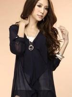 (สีดำ)เสื้อทำงานแฟชั่นเกาหลี คอวี แขนยาว ผ้าชีฟอง สีดำ เซ็กซี่(ใหม่ พร้อมส่ง) LadyShop4U