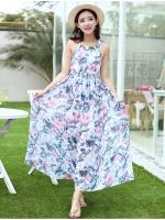 (โทนสีขาวฟ้า) ไซส์ L ชุดเดรสแซกยาวแฟชั่นเกาหลีชุดไปเที่ยวทะเลพริ้ว เดรสยาวโทนสีขาวฟ้า แขนกุด เม็กซี่เดรส ผ้าชีฟองพริ้ว(Maxi Dress) (ใหม่ พร้อมส่ง) ร้าน Ladyshop4u