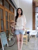 เสื้อคลุม เสื้อแฟชั่น เสื้อลำลอง เสื้อน่ารัก ผ้าถัก สีขาว (ใหม่ พร้อมส่ง)ร้าน Ladyshop4u