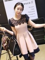 ชุดทำงานเกาหลี ชุดทำงานแฟชั่น คอกลม แขนสั้น แต่งลูกไม้ที่ไหล่ เอวเข้ารูป กระโปรงบาน (ใหม่ พร้อมส่ง) ร้าน Ladyshop4u