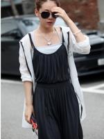 Pre Order (สีดำ)ชุดเดรสแซกยาวแฟชั่นเกาหลีเซ็กซี่ สายเดี่ยว สีดำ(ใหม่ พรีออเดอร์) ร้าน Ladyshop4u