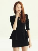 (สีดำ)ชุดเดรสทำงานเกาหลี คอกลม แขนสามส่วน เข้ารูป กระโปรง สีดำ ชุดทำงานแฟชั่น (ใหม่ พร้อมส่ง) ร้าน Ladyshop4u