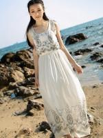(สีขาว) ชุดเดรสแซกยาวแฟชั่นเกาหลี เม็กซี่เดรส (Maxi Dress) ชุดเดรสเที่ยวทะเล สีขาว คอกลม แขนกุด ผ้าชีฟอง มีซับในทั้งตัว เอวยืด (ใหม่ พร้อมส่ง) ร้าน Ladyshop4u