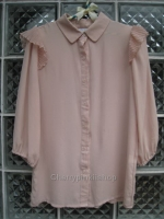 (หมดแล้วจ้า!!) เสื้อเกาหลี ผ้าชีฟอง สีชมพู แขนจั๊ม มีระบายที่ไหล่น่ารัก