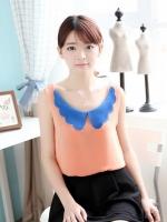 เสื้อแฟชั่นเกาหลี ผ้าชีฟอง สีส้ม คอปกสน้ำเงิน แขนกุด(ใหม่ พร้อมส่ง) ร้าน Ladyshop4u