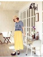 กระโปรงยาว อีดพีท สีเหลือง (ใหม่ พร้อมส่ง) ร้าน ladyshop4u@hotmail.com