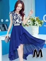 (สีน้ำเงิน ไซส์ M) ชุดเดรสแซกยาวแฟชั่นเกาหลี ชุดทำงาน ชุดแซกประโปรงใส่ทำงาน คอวี แขนสั้น เสื้อสีขาวสลับลายดำ ผ้าชีฟอง พิมพ์ลาย กระโปรงยาวผ้าชีฟอง พร้อมเข็มขัด (ใหม่ พร้อมส่ง) ร้าน Ladyshop4u