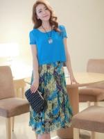 ชุดเดรสยาวแฟชั่นเกาหลีน่ารัก ลายดอกไม้ สีน้ำเงิน เสื้อคอกลม แขนสั้น ผ้าชีฟอง แระโปรงลายดอกอัดพลีท(ใหม่ พร้อมส่ง) ร้าน Ladyshop4u