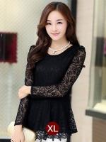 (สีดำ XL) เสื้อทำงานแฟชั่น สีดำ คอกลม แขนผ้าลูกไม้ (ใหม่ พร้อมส่ง) ร้าน LadyShop4U