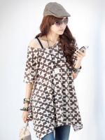 Pre order (สีกากี)เสื้อแฟชั่น เสื้อทำงาน ผ้าชีฟอง คอกว้าง แขนสั้น ผ่าข้าง (ใหม่ พรีออเดอร์) LadyShop4u
