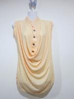 เสื้อแฟชั่น เสื้อลำลอง เสื้อแขนกุด ผ้าคอตตอล สีเหลืองลายจุดสีชมพู (ใหม่ พร้อมส่ง) LadyShop4U
