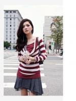 เสื้อแฟชั่น เสื้อทำงาน เสื้อยืดแขนยาว ตัวยาว ลายขวางสีแดงสลับขาว (ใหม่ พร้อมส่ง) Ladyshop4U