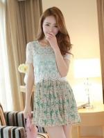 (สีเขียว)ชุดเดรสสั้นแฟชั่นเกาหลีน่ารัก แนวหวาน สีเขียว เสื้อลูกไม้คอกลม แขนสั้น กระโปรงลายดอกไม้อัดพลีท (ใหม่ พร้อมส่ง) ร้าน Ladyshop4u