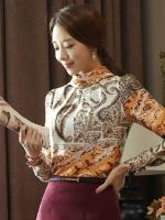 (ลายโรมัน ไซส์ XL) เสื้อเชิ้ตทำงานแฟชั่น พิมพ์ลายโรมัน คอเต่า แขนยาว ซิปหลัง ผ้าซาติน (ใหม่ พร้อมส่ง) ร้าน LadyShop4U