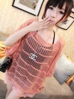 (สีชมพู)เสื้อแฟชั่น เสื้อใส่ไปทะเล เสื้อแฟชั่นเกาหลี เสื้อลำลอง เสื่อใส่เที่ยว เสื้อถักคลุมทั้งตัว น่ารัก เซ็กซี่ (ใหม่ พร้อมส่ง) ร้าน LadyShop4U