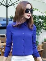 (สีน้ำเงิน ไซส์ XL) เสื้อทำงานแฟชั่น คอปก แขนยาว กระดุมหน้า ผ้าชีฟอง (ใหม่ พร้อมส่ง) ร้าน LadyShop4U