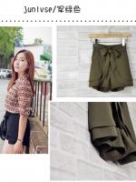 (สีเขียว)กางเกงแฟชั่น กางเกงเกาหลี กางเกงขาสั้น เอวสูง สีเขียว เอวยางยืด แถมสายผ้า สวย ดูดี น่ารัก (ใหม่ พร้อมส่ง) ladyshop4u