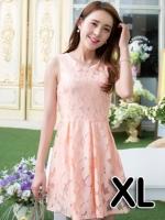 (สีส้มอ่อน ไซส์ XL) ชุดเดรสแซกสั้นแฟชั่นเกาหลี ชุดเดรสผ้าลูกไม้สีส้มอ่อน คอกลม แขนกุด มีซับใน กระโปรงบานจีบทวิต ซิปหลัง (ใหม่ พร้อมส่ง) ร้าน Ladyshop4u