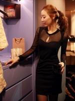 Pre Order (สีดำ ) ชุดเดรสแซกสั้นแฟชั่นนำเข้าเกาหลี ผ้าคอตตอน คอกลมผ้าซีทรูเว้าอก แขนยาว เข้ารูป (ใหม่ พรีออเดอร์) ร้าน Ladyshop4u