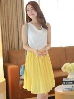 ชุดเดรสสั้นแฟชั่นเกาหลีแนวหวาน สีเหลือง คอย้วย แขนกุด เอวยางยืด กระโปรงอัดพลีทสีเหลือง แถมผ้าผูกเอว(ใหม่ พร้อมส่ง) ร้าน Ladyshop4u