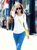 Pre order (เสื้อสีขาว)เสื้อแฟชั่น เสื้อทำงาน เสื้อคอตตอน แขนยาว คอกลม (ใหม่ พรีออเดอรื) LadyShop4u