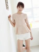 เสื้อแฟชั่นเกาหลี สีชมพูกะปิ คอกลม แขนสั้น ปักลายดอกไม้ ซิปหลัง (ใหม่ พร้อมส่ง) ร้าน Ladyshop4u