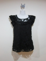 เสื้อทำงาน เสื้อแฟชั่น เสื้อลำลอง สีดำ แขนสั้น ผ้าลูกไม้ ซับในสีดำ (ใหม่ พร้อมส่ง) ร้าน Ladyshop4u
