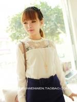 (สีขาว)เสื้อทำงานแฟชั่นเกาหลีออฟฟิศ เสื้อผ้าชีฟอง ช่วงไหล่เป็นซีทรู ลายดอก แขนยาว เป็นซิปหลัง คอกลม ( ใหม่ พร้อมส่ง) ร้าน LadyShop4U