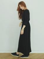(สีดำ)ชุดเดรสแซกยาวแฟชั่นเกาหลี สีดำ คอกลม แขนยาว เอวยืด (ใหม่ พร้อมส่ง) ร้าน Ladyshop4u