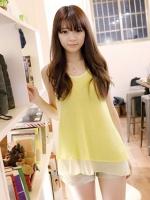 เสื้อแฟชั่นเกาหลี สีเหลือง ผ้าชีฟอง คอกลม แขนกุด(ใหม่ พร้อมส่ง) ร้าน Ladyshop4u