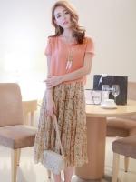 ชุดเดรสยาวแฟชั่นเกาหลีน่ารัก ลายดอกไม้ สีชมพู เสื้อคอกลม แขนสั้น ผ้าชีฟอง แระโปรงลายดอกอัดพลีท (ใหม่ พร้อมส่ง) ร้าน Ladyshop4u