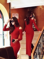 ชุดเดรสยาว แม็กซี่เดรส เดรสแฟชั่น สไตล์เกาหลี คอเต๋า แขนยาว maxi dress แม็กซี่เดรสยาว สีแดง (ใหม่ พร้อมส่ง) ร้าน Ladyshop4u