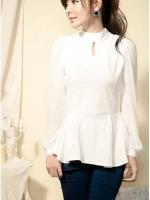 (สีขาว)เสื้อทำงานแฟชั่นเกาหลีออฟฟิศ สีขาว คอเต่า เว้าช่วงคอ แขนยาวผ้าชีฟองโปร่่ง ซิบหลังถึงเอว เอวด้านหลังยางยืด ช่วงล่างปล่อย เข้ารูป ( ใหม่ พร้อมส่ง) ร้าน LadyShop4U
