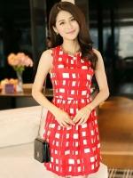 (สีแดง) ชุดเดรสแซกสั้นทำงานแฟชั่นเกาหลีนำเข้า คอกลม แขนกุด สีแดงลายสี่เหลี่ยมสีขาวกระโปรงเข้ารูป ผ้าคอตตอน ซิปหลัง (ใหม่ พร้อมส่ง) ร้าน Ladyshop4u
