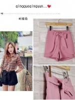 (สีชมพู) กางเกงแฟชั่น กางเกงขาสั้น กางเกงเกาหลี เอวสูง สีชมพู เอวยางยืด แถมสายผ้า สวย น่ารัก ดูดี (ใหม่ พร้อมส่ง) ร้าน LadyShop4u