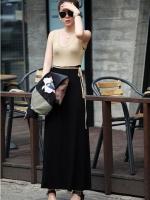 Pre order (สีน้ำตาลอ่อนสีดำ) ชุดเดรสแซกยาวทำงาน ผ้ายืด คอกลม แขนกุด เสื้อสีน้ำตาลอ่อน ตัดต่อกระโปรงผ้ายืดเข้ารูปสีดำ มีเชือกผูกที่เอว (ใหม่ พรีออเดอร์) ร้าน Ladyshop4u