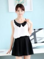 (สีขาว)เสื้อแฟชั่นเกาหลี ผ้าชีฟอง สีขาว คอปกสีดำ แขนกุด (ใหม่ พร้อมส่ง) ร้าน Ladyshop4u