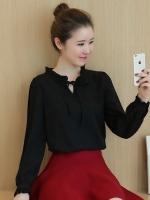(สีดำไซส์ XL) เสื้อทำงานแฟชั่นออฟฟิศ สีดำ คอระบายผูก แขนยาวปลายแขนกระดุม ( ใหม่ พร้อมส่ง) ร้าน LadyShop4U