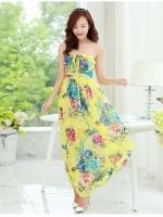 (โทนสีเหลือง) ไซส์ L ชุดเดรสแซกยาวแฟชั่นเกาหลีชุดไปเที่ยวทะเลพริ้ว เดรสยาวโทนสีเหลือง คล้องคอผูกโบว์ เม็กซี่เดรส ผ้าชีฟองพริ้ว(Maxi Dress) (ใหม่ พร้อมส่ง) ร้าน Ladyshop4u สำเนา